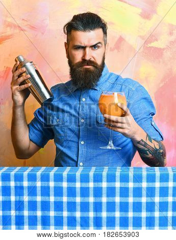 Brutal Caucasian Hipster Doing Tropical Alcohol Fresh Cocktail