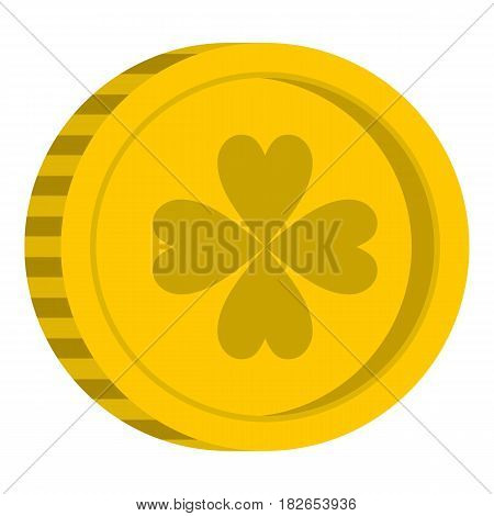 Golden coin with clover sign icon flat isolated on white background vector illustration