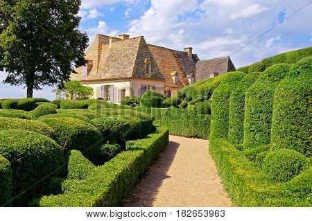 Beautiful Sculpted Gardens With Traditional House, Dordogne, France