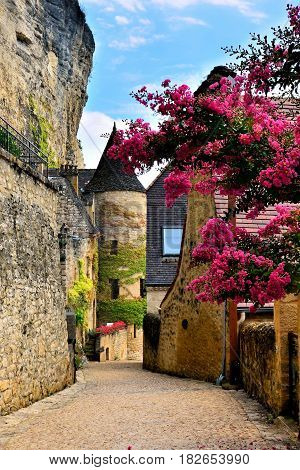 Beautiful Village Street With Flowers And Medieval Tower, Dordogne, France