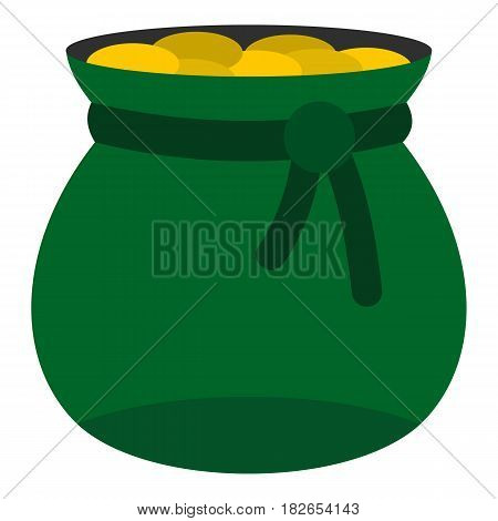 Green bag full of gold coins icon flat isolated on white background vector illustration