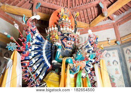 Inner Mongolia, China - Aug 14 2015: Budda Statues At Meidai Lamasery (meidai Zhao). A Famous Histor