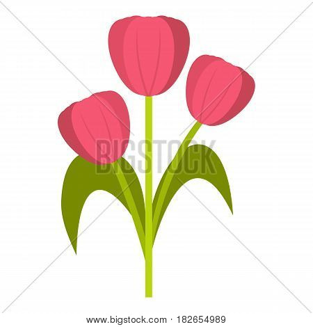 Pink tulips icon flat isolated on white background vector illustration