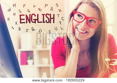 English Text With Young Woman