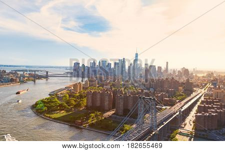 Aerial view of the the Williamsburg Bridge over the East River in Manhattan New York City