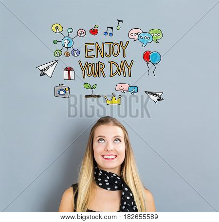 Enjoy Your Day Concept With Happy Young Woman