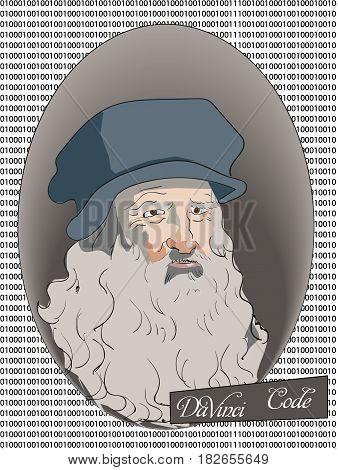 The Leonardo DaVinci binary Code vector Illustration