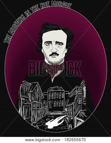 The Murder in the Rue Morgue by Edgar Allan Poe vector Illustration