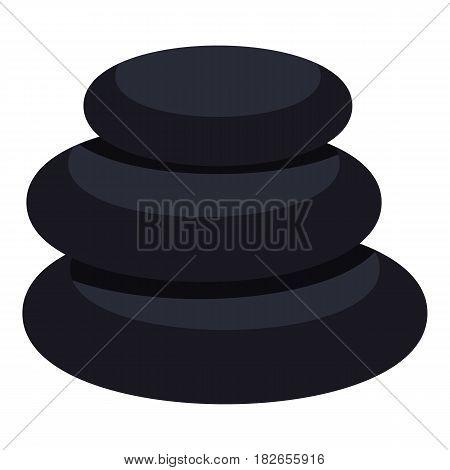 Stack of black basalt balancing stones icon flat isolated on white background vector illustration