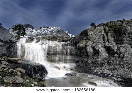 Waterfall in the ravine of Igüer - Aisa mountain range, Huesca Pyrenees