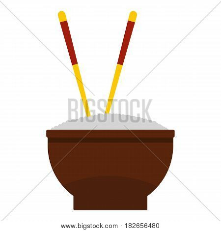 Brown bowl of rice with pair of chopsticks icon flat isolated on white background vector illustration
