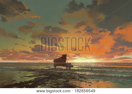 surreal painting of melting black piano on the beach at sunset, illustration art
