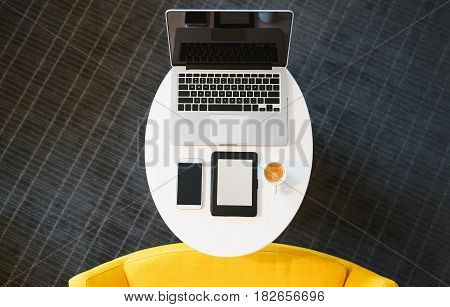 Top Down View Of Digital Devices With Coffee