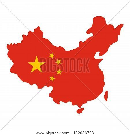Map of China in national flag colors icon flat isolated on white background vector illustration