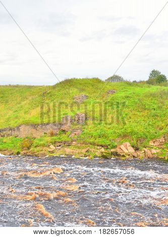 View of the river Tosna at cloud summer day Leningrad Region Russia.