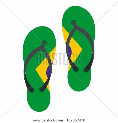 Flip flops in Brazil flag colors icon flat isolated on white background vector illustration