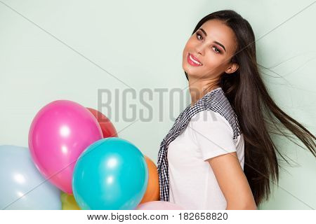 Happy Young Woman With Balloons.