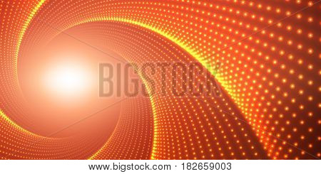 Vector infinite round twisted tunnel of shining flares on red background. Glowing points form tunnel. Abstract cyber colorful background. Elegant modern geometric wallpaper. Shining points swirl.