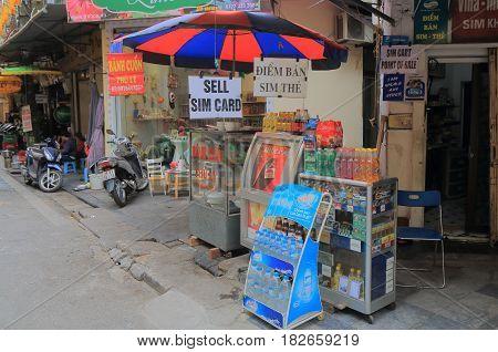HANOI VIETNAM - NOVEMBER 24, 2016: Street Kiosk in Old Quarter Hanoi.