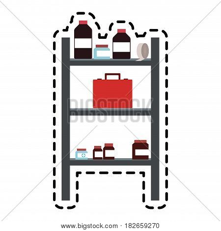first aid kit and shelf  icon image vector illustration design