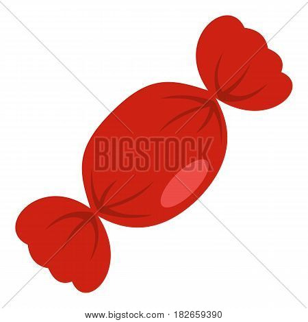 Candy in red wrap icon flat isolated on white background vector illustration