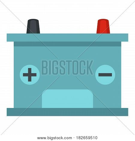 Blue battery car icon flat isolated on white background vector illustration