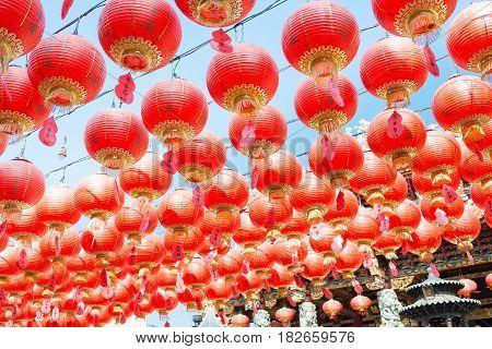 Fujian, China - Dec 28 2015: Lantern At Yuanmiaoguan Taoist Temple. A Famous Historic Site In Quanzh