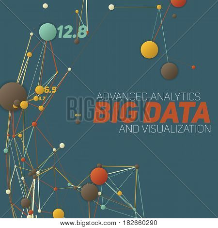 Big data visualization. Futuristic infographic. Information aesthetic design. Visual data complexity. Complex data threads graphic visualization. Social network representation. Finance graph.