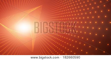 Vector infinite triangle twisted tunnel of shining flares on red background. Glowing points form tunnel. Abstract cyber colorful background. Elegant modern geometric wallpaper. Shining points swirl.