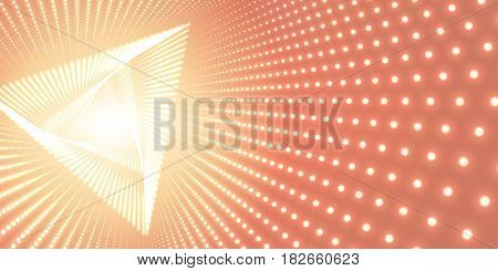 Vector infinite triangle twisted tunnel of shining flares on orange background. Glowing points form tunnel. Abstract cyber colorful background. Elegant modern geometric wallpaper. Shining points swirl