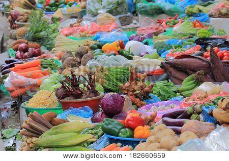 Vegetable shop in Hanoi Old Quarter Vietnam