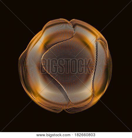 Abstract vector golden colorful mesh sphere on dark background. Futuristic style card. Elegant background for business presentations. Corrupted point sphere. Chaos aesthetics.