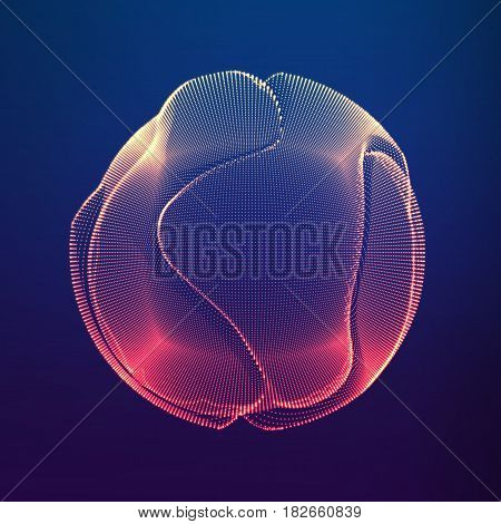 Abstract vector colorful mesh sphere on dark violet background. Futuristic style card. Elegant background for business presentations. Corrupted point sphere. Chaos aesthetics.