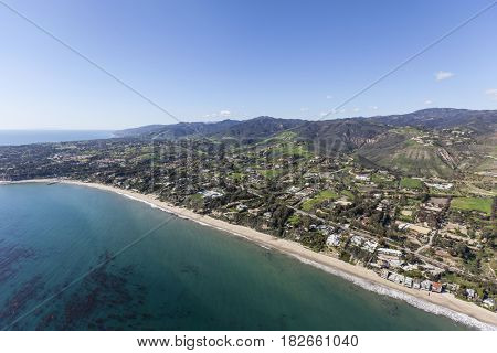 Aerial view of the Escondido beach area of Malibu in Los Angeles County, California.
