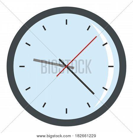 Round analog clock face icon flat isolated on white background vector illustration
