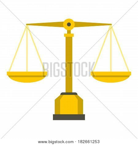 Gold scales of justice icon flat isolated on white background vector illustration