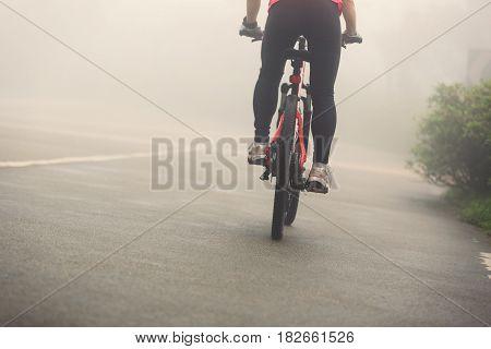 cyclist riding mountain bike on foggy forest trail