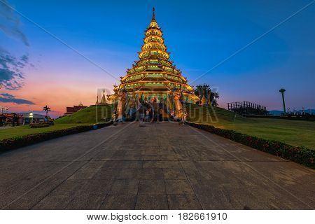 Wat Huai Pla Kung (Temple) in Chiang Rai,Thailand.APR 21,2017 Wat Huai Pla Kung temple the pagoda in Chinese style in Chiangrai province of Thailand.well known wordwide.Opened on 19 November 2005