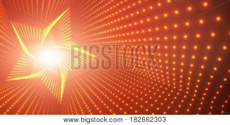 Vector infinite star twisted tunnel of shining flares on red background. Glowing points form tunnel. Abstract cyber colorful background. Elegant modern geometric wallpaper. Shining points swirl.