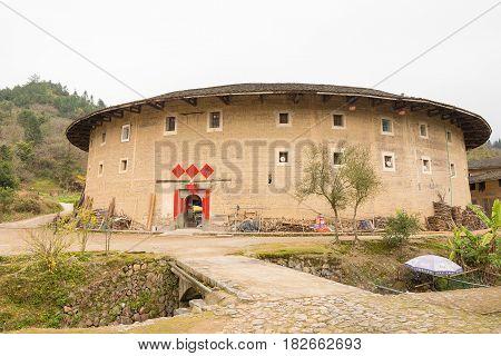 Fujian, China - Jan 04 2016: Hekeng Tulou Cluster At Tianloukeng Tulou Scenic Spots In Fujian Tulou(