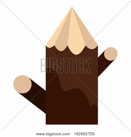 Pointed woden stump icon flat isolated on white background vector illustration