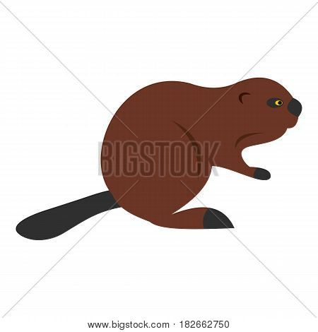 North American beaver icon flat isolated on white background vector illustration