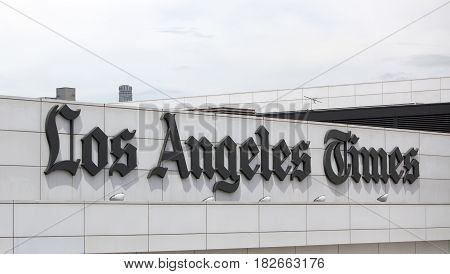 Los Angeles USA - April 17 2017: The facade for the Los Angeles Times newspaper building in downtown Los Angeles California.