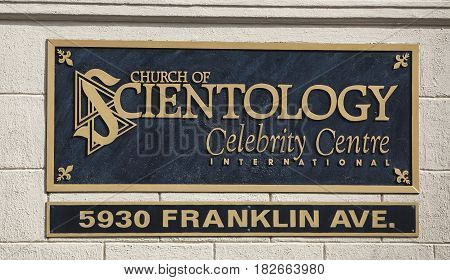 Los Angeles USA - April 17 2017: The sign in front of the Church of Scientology Celebrity Centre in Los Angeles California.
