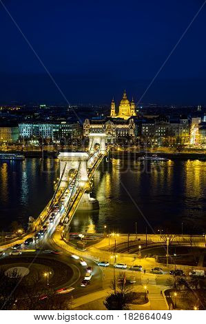 Overview of Budapest with the Szechenyi Chain Bridge in Budapest