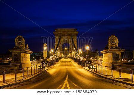 Szechenyi chain bridge in Budapest Hungary at night