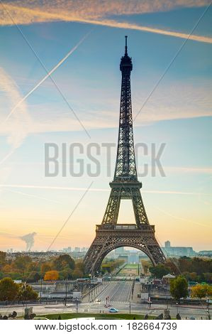Cityscape with the Eiffel tower in Paris France at sunrise