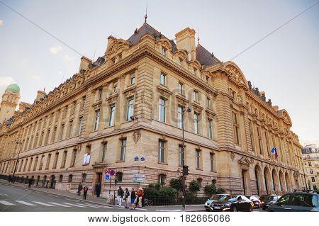 PARIS- NOVEMBER 2: Paris-Sorbonne University building with people on November 02 2016 in Paris France.