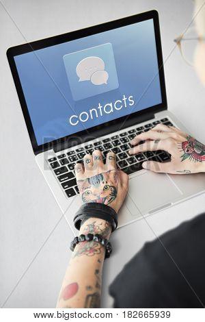 Hands Laptop Chat Conversation Bubble Graphic