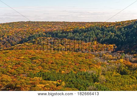 Fall Panorama from a Cliffside in Devils Lake State Park in Wisconsin